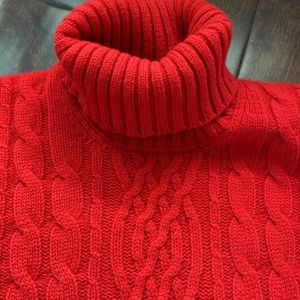 Red cable knit fisherman's cable turtleneck